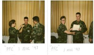 My promotion to Private First Class while stationed at Landstuhl, Germany.