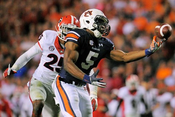 Auburn's Ricardo Louis (5) made a stunning 73-yard TD catch to beat Georgia. (Shanna Lockwood/USA Today Sports)