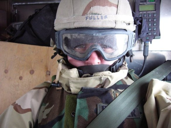 Riding in a windowless Humvee on a cold, wet, and snowy morning in Iraq in Feb 2004.