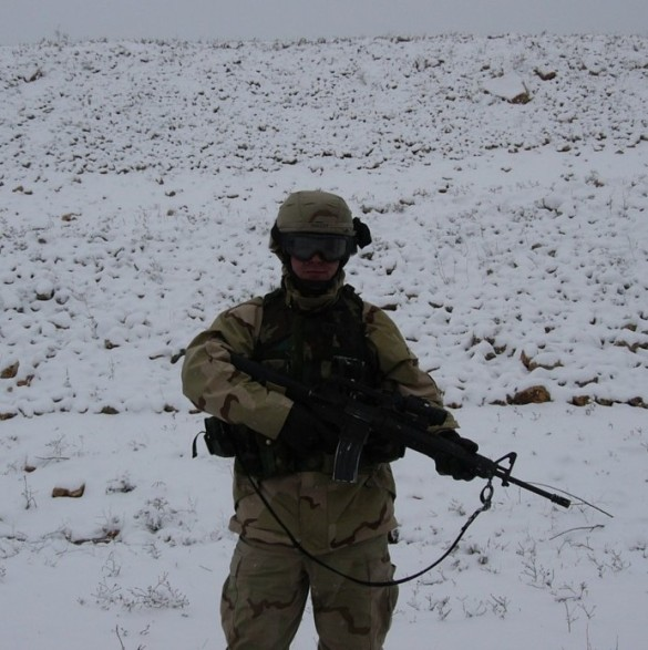 Near the Syrian border in Iraq in 2004. FYI, it does get cold there.
