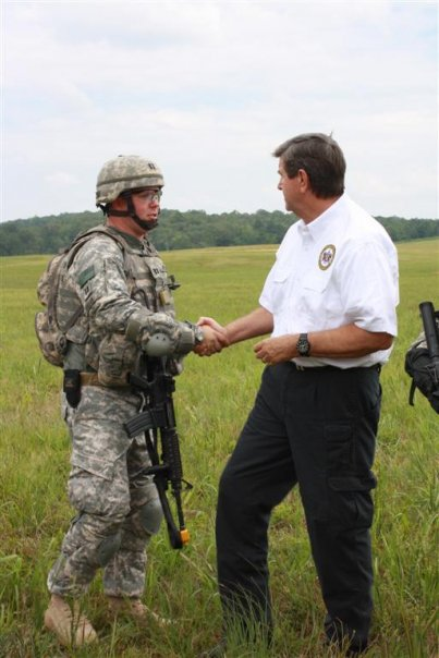 Chatting with the Alabama Governor Bob Riley at Ft McClellan in 2009 prior to deployment number 3.