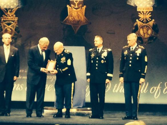 CSM Adkins being inducted into the Hall of Heroes by SecDef Hagel,  Vice Chief of Staff of the United States Army General Allyn and the Sergeant Major of the Army Chandler.