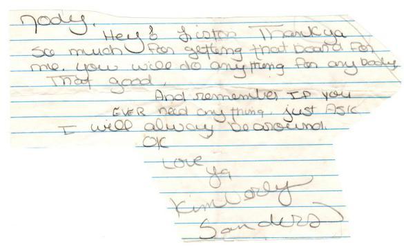 Kim Sanders letter