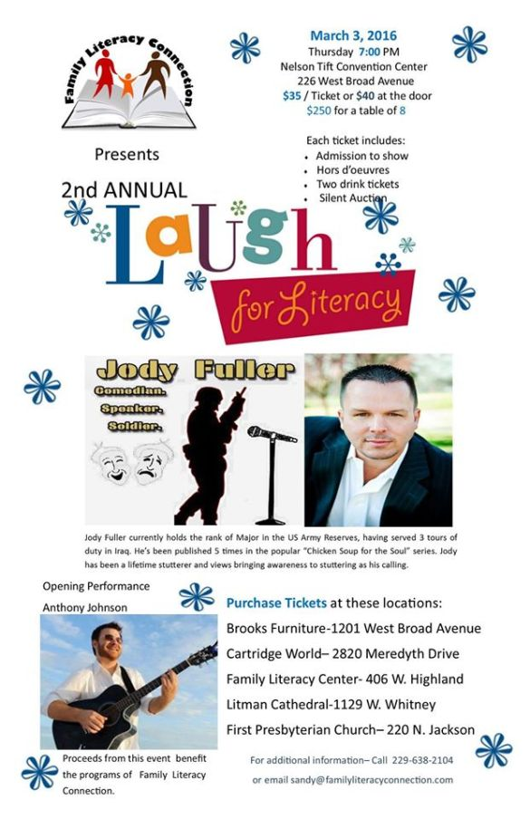 Laugh for literacy flyer